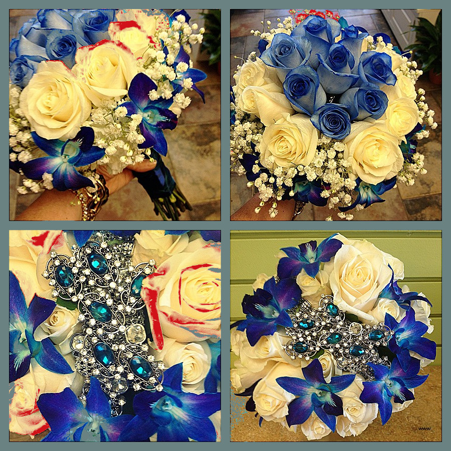 wedding bouquet with brooches Beautiful Blue teal bouquets Blue roses blue orchids & white roses