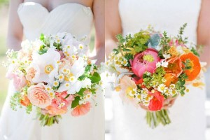 coral flower arrangements for wedding