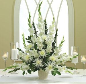 White Wedding Altar Arrangement Elegant altar flowers for weddings