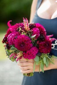Magenta Dahlia Wedding Bouquet