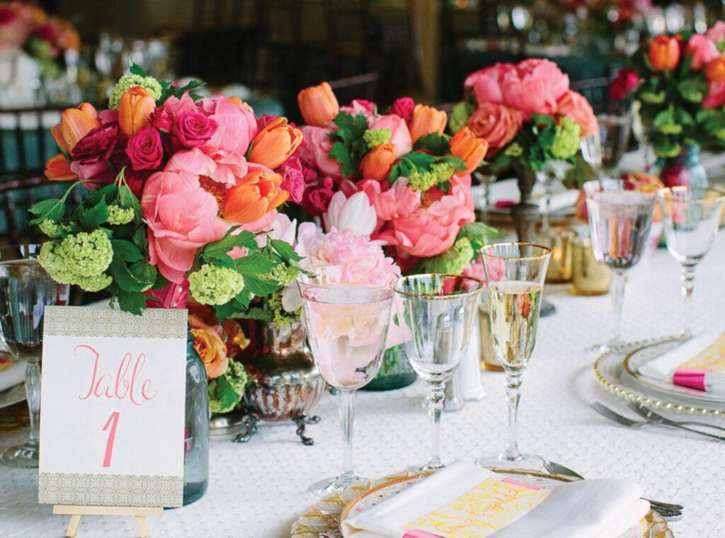 Peony, tulip, rose and hydrangea reception centerpieces