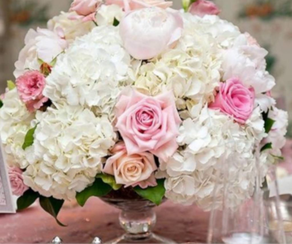Pink and white peony centerpiece