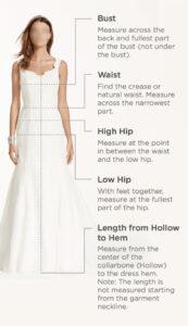 Measure for Standard Wedding Dresses