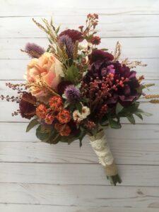 Artificial Fall Wedding Bouquet- 321fdsiym45