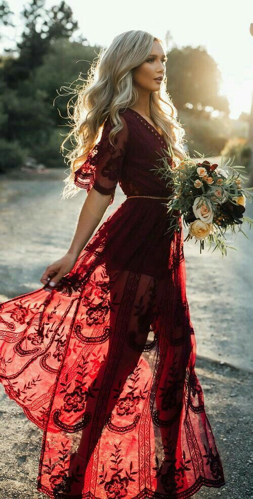 Boho Red Wedding Dress