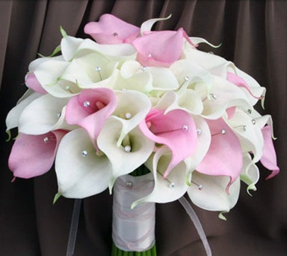 Buy White and Pink Calla Lily Wedding Bouquet