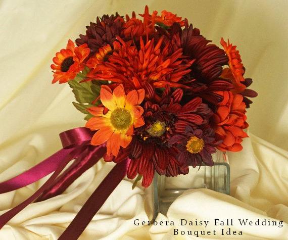 Gerbera Daisy Fall Wedding Bouquet Idea