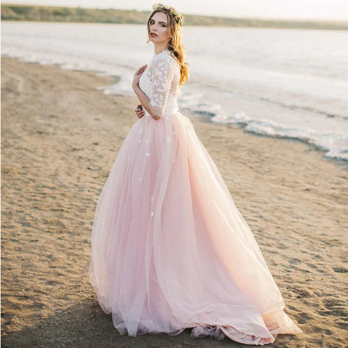 Wedding Dress with Pieces of pink