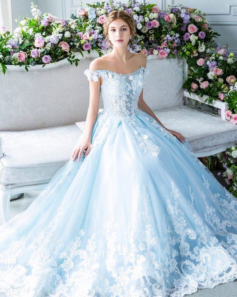 baby blue romantic wedding dress