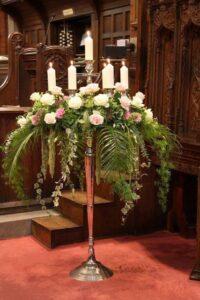 Candelabras wedding flowers church