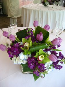 Purple tulip wedding centerpieces
