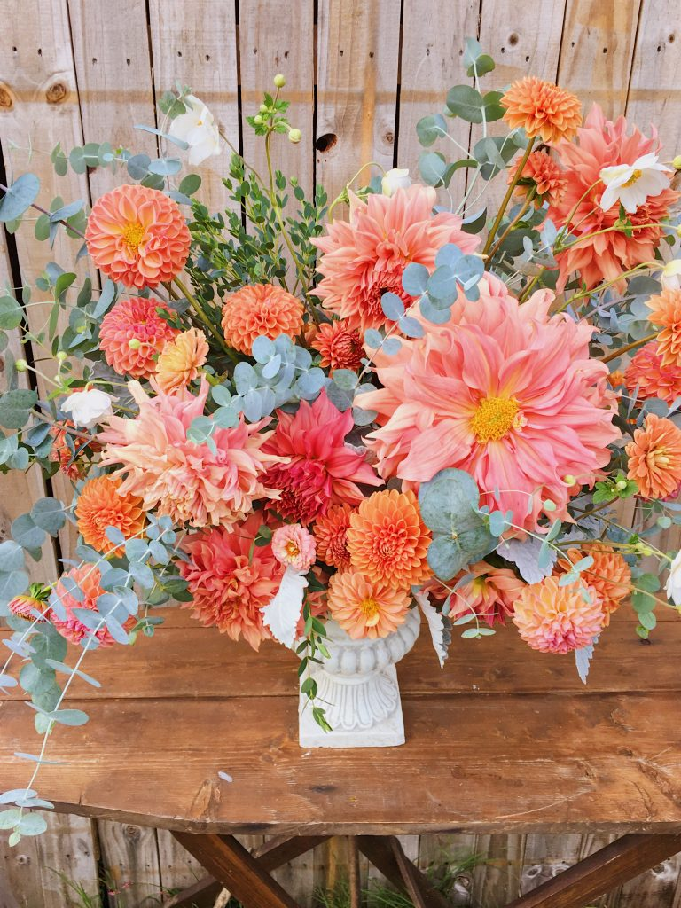 Living Beautiful Coral Flowers Centerpiece
