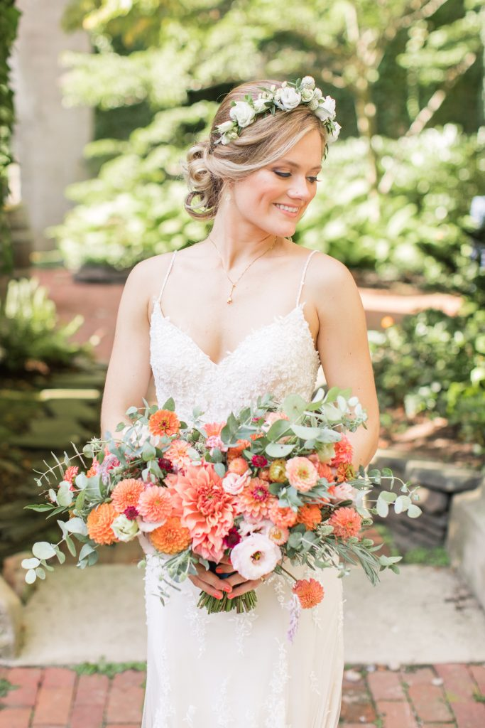 Bride with Coral Flowers Wedding bouquet